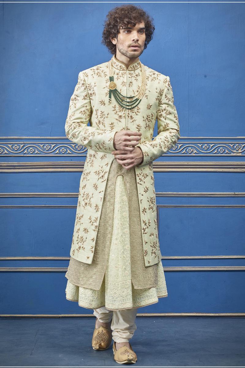 Wedding Wear Silk Fabric Indowestern Groom Sherwani In Beige Color For Men