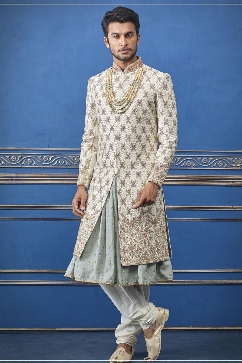 Mens Wedding Wear Silk Fabric Off White Color Indowestern Groom Sherwani