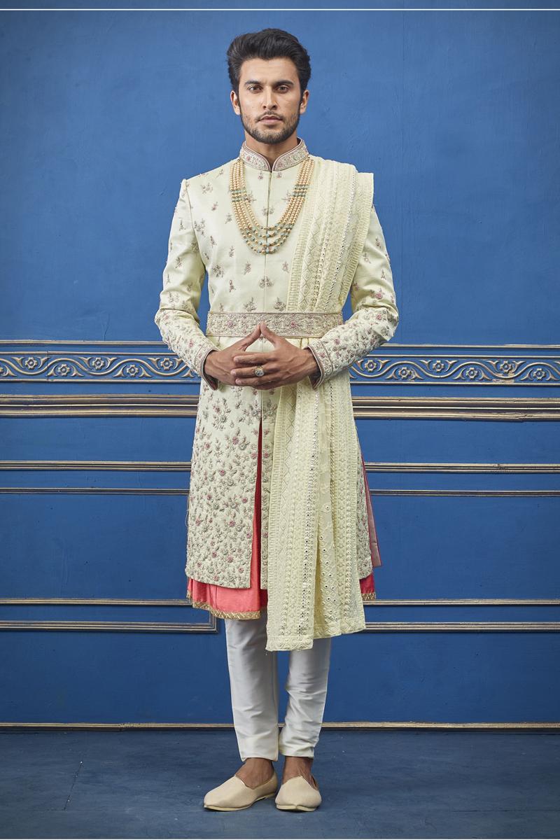 Wedding Wear Silk Fabric Indowestern Groom Sherwani