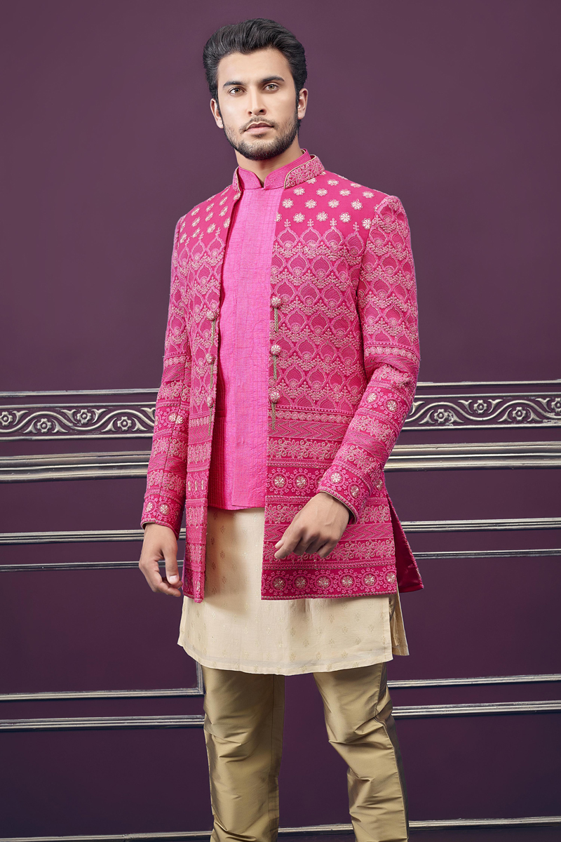 Silk Fabric Rani Color Wedding Wear Indowestern Groom Sherwani