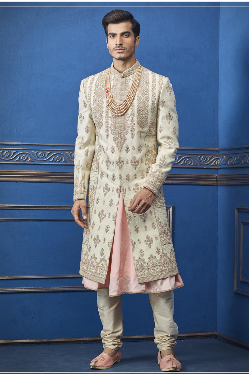 Beige Color Silk Fabric Designer Indowestern Groom Sherwani