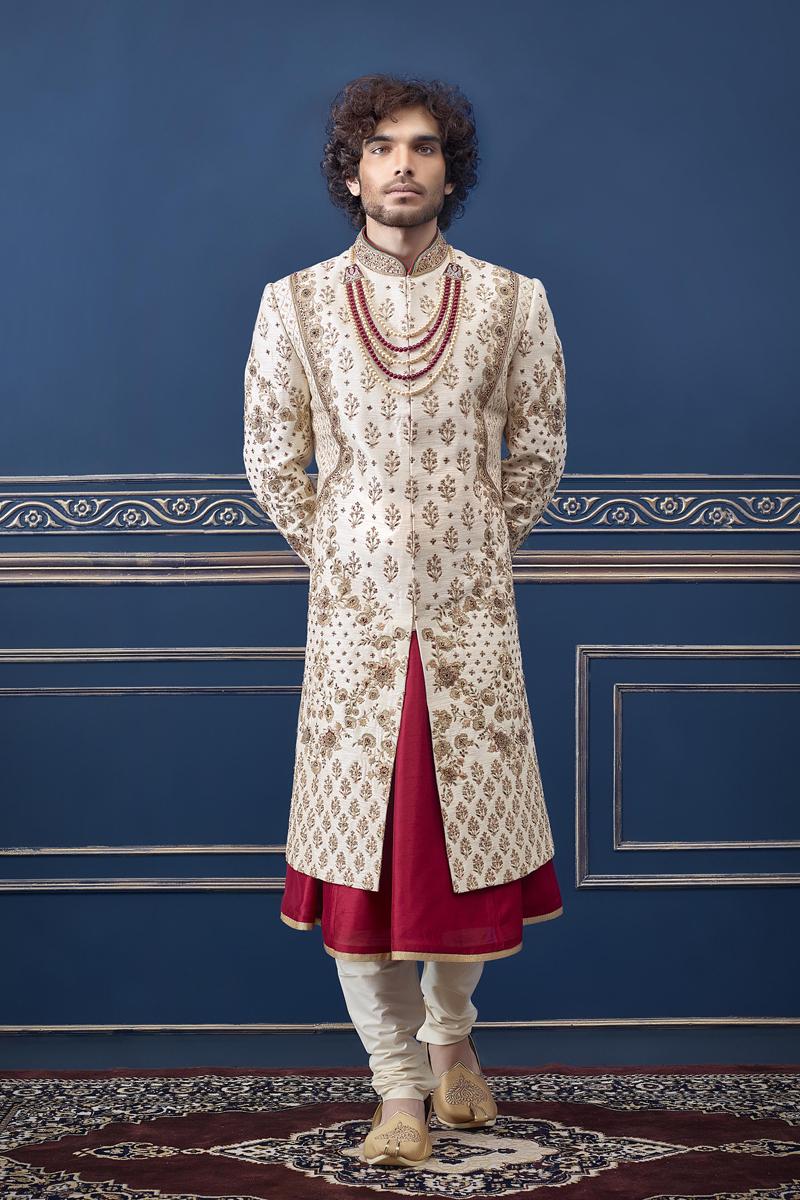 Cream Color Silk Fabric Wedding Wear Fancy Indowestern Groom Sherwani