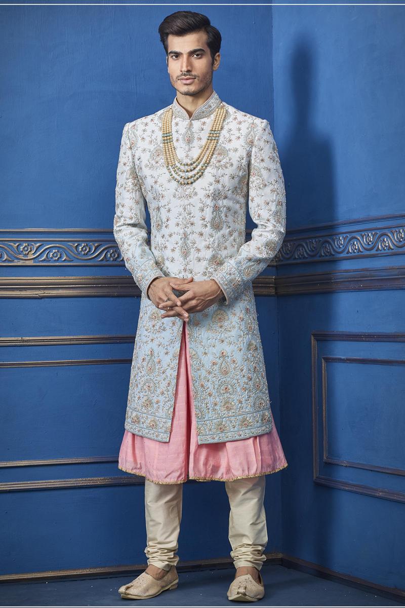 Silk Fabric Wedding Wear Indowestern Groom Sherwani