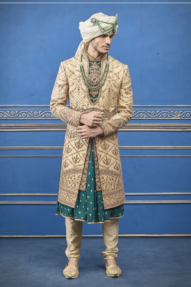 Cream Color Silk Fabric Designer Indowestern Groom Sherwani
