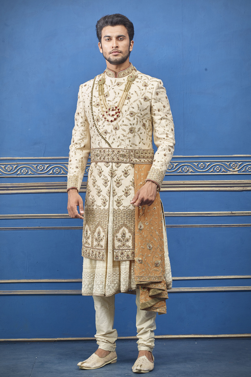 Mens Wedding Wear Silk Fabric Beige Color Indowestern Groom Sherwani