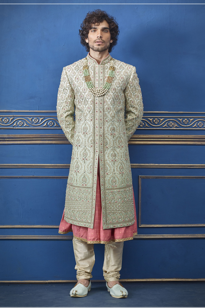Wedding Wear Silk Fabric Indowestern Groom Sherwani In Sea Green Color For Men