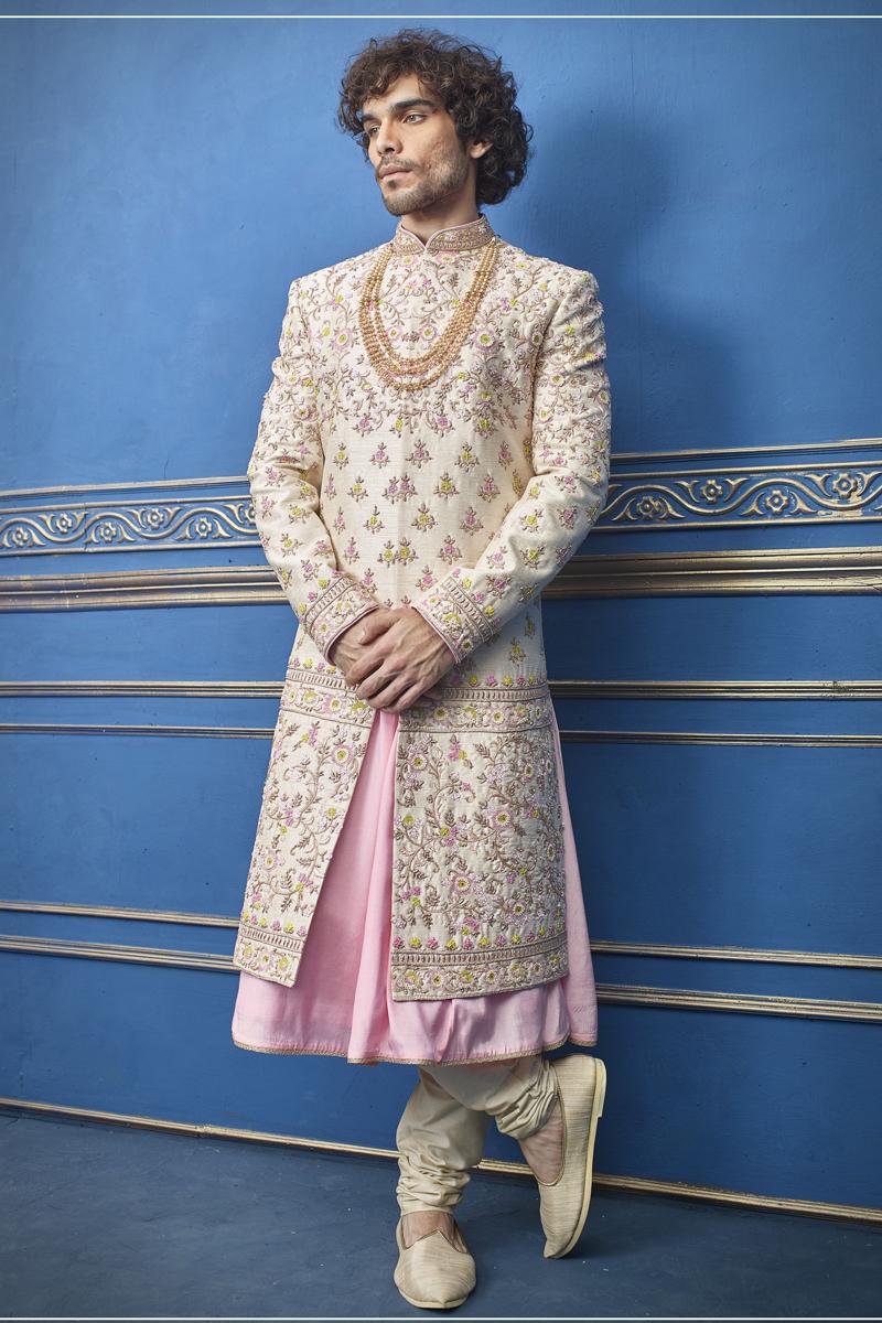 Wedding Wear Silk Fabric Beige Color Indowestern Groom Sherwani