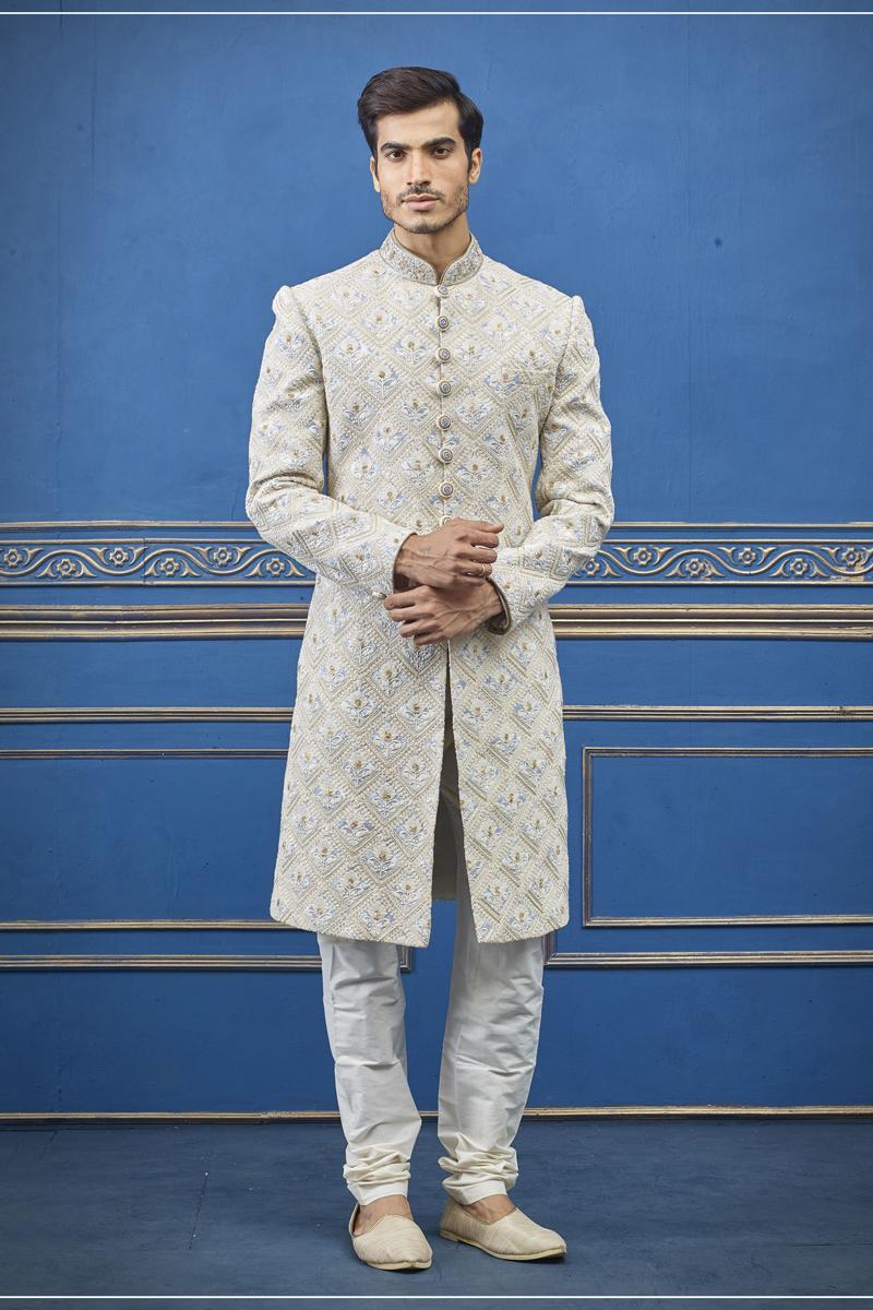 Wedding Wear Silk Fabric Indowestern Groom Sherwani In Off White Color