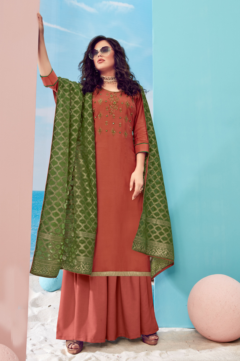 Salmon Color Viscose Fabric Embroidered Palazzo Suit