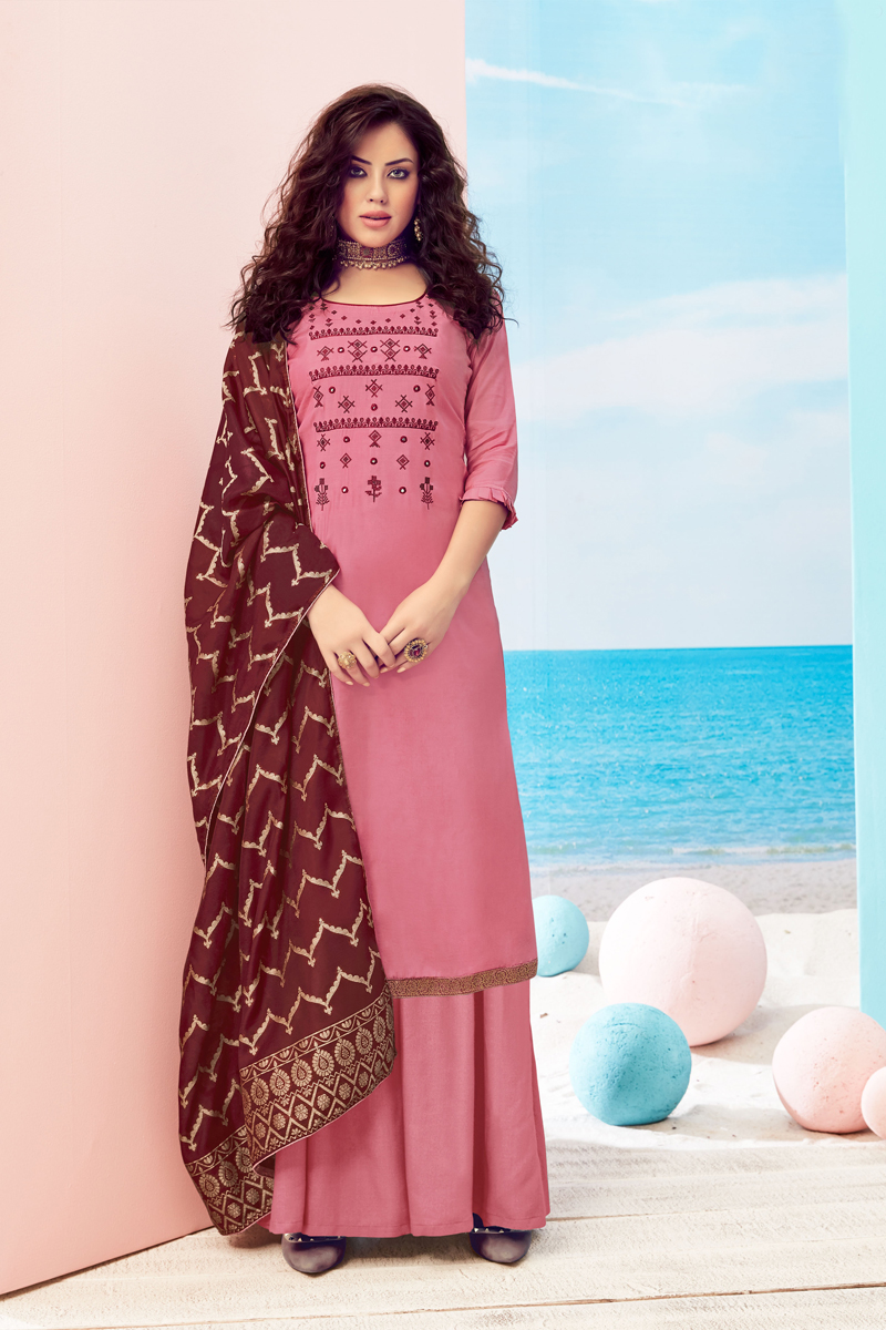 Occasion Wear Pink Color Embroidered Palazzo Salwar Kameez