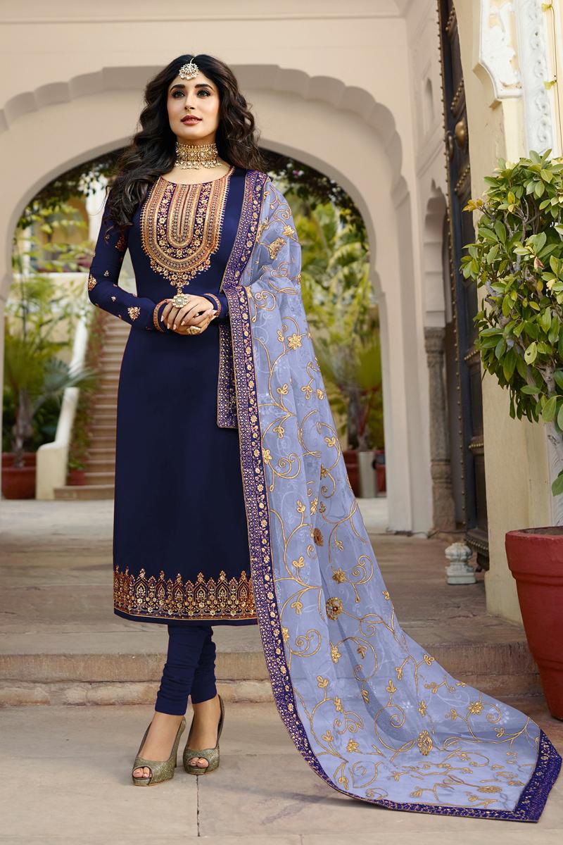 Kritika Kamra Satin Georgette Fabric Straight Cut Salwar Suit