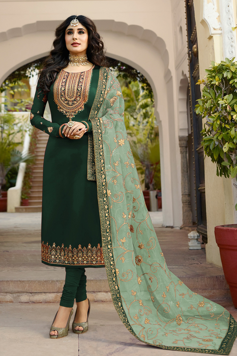 Kritika Kamra Dark Green Color Satin Georgette Fabric Function Wear Embroidered Straight Cut Suit
