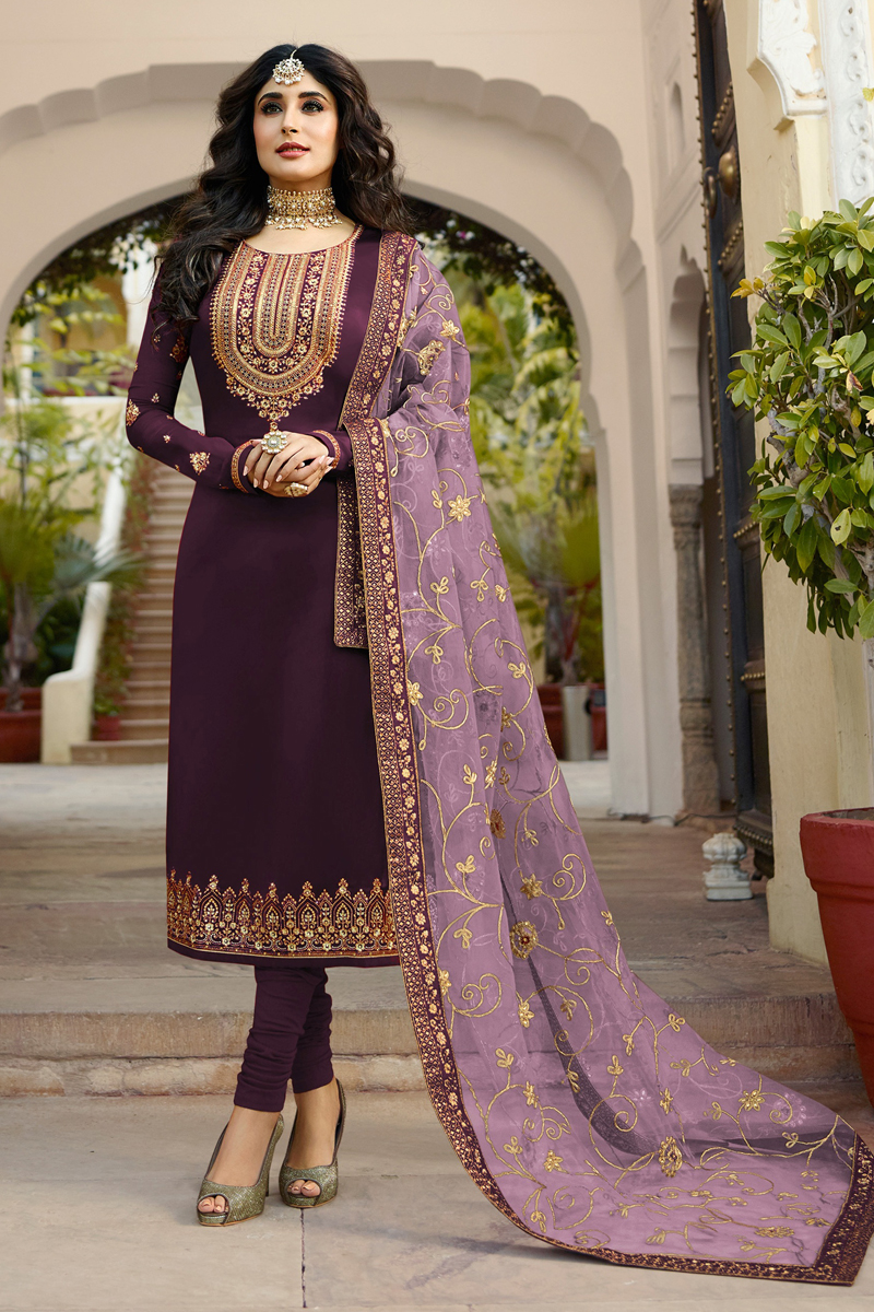 Kritika Kamra Occasion Wear Dark Lavender Color Embroidered Straight Cut Salwar Kameez