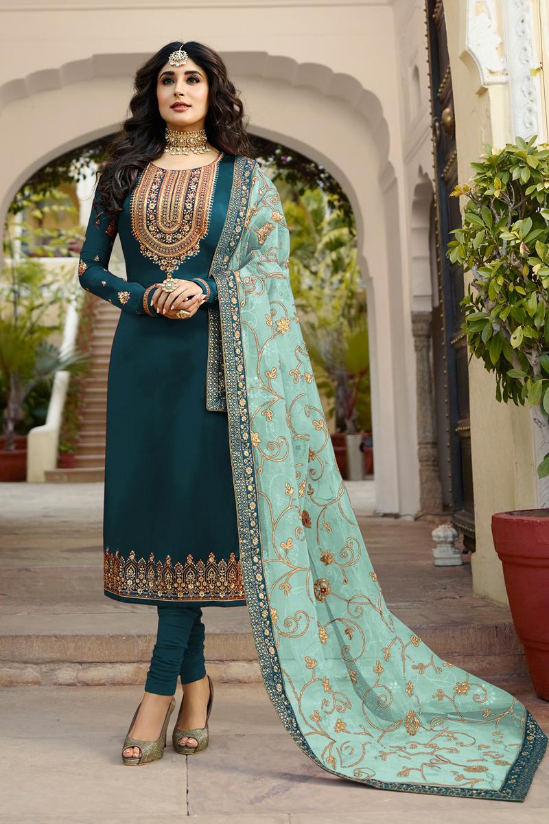 Kritika Kamra Embroidery Work Teal Color Satin Georgette Fabric Straight Cut Salwar Suit