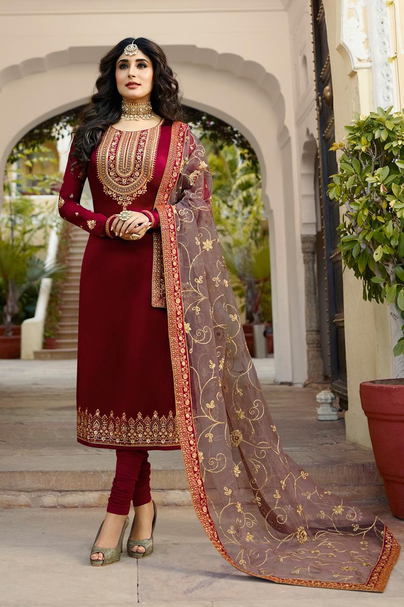 Kritika Kamra Satin Georgette Fabric Maroon Color Straight Cut Suit