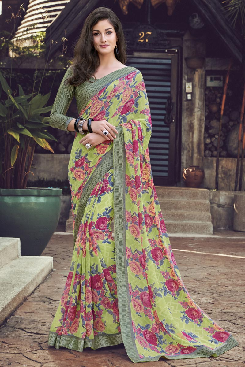 Georgette Fabric Casual Wear Simple Printed Saree In Green Color
