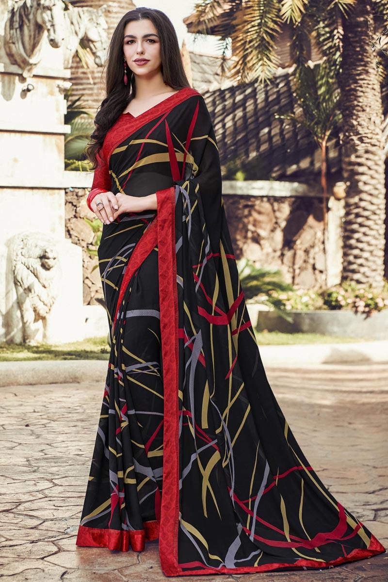 Black Color Casual Printed Saree In Georgette Fabric