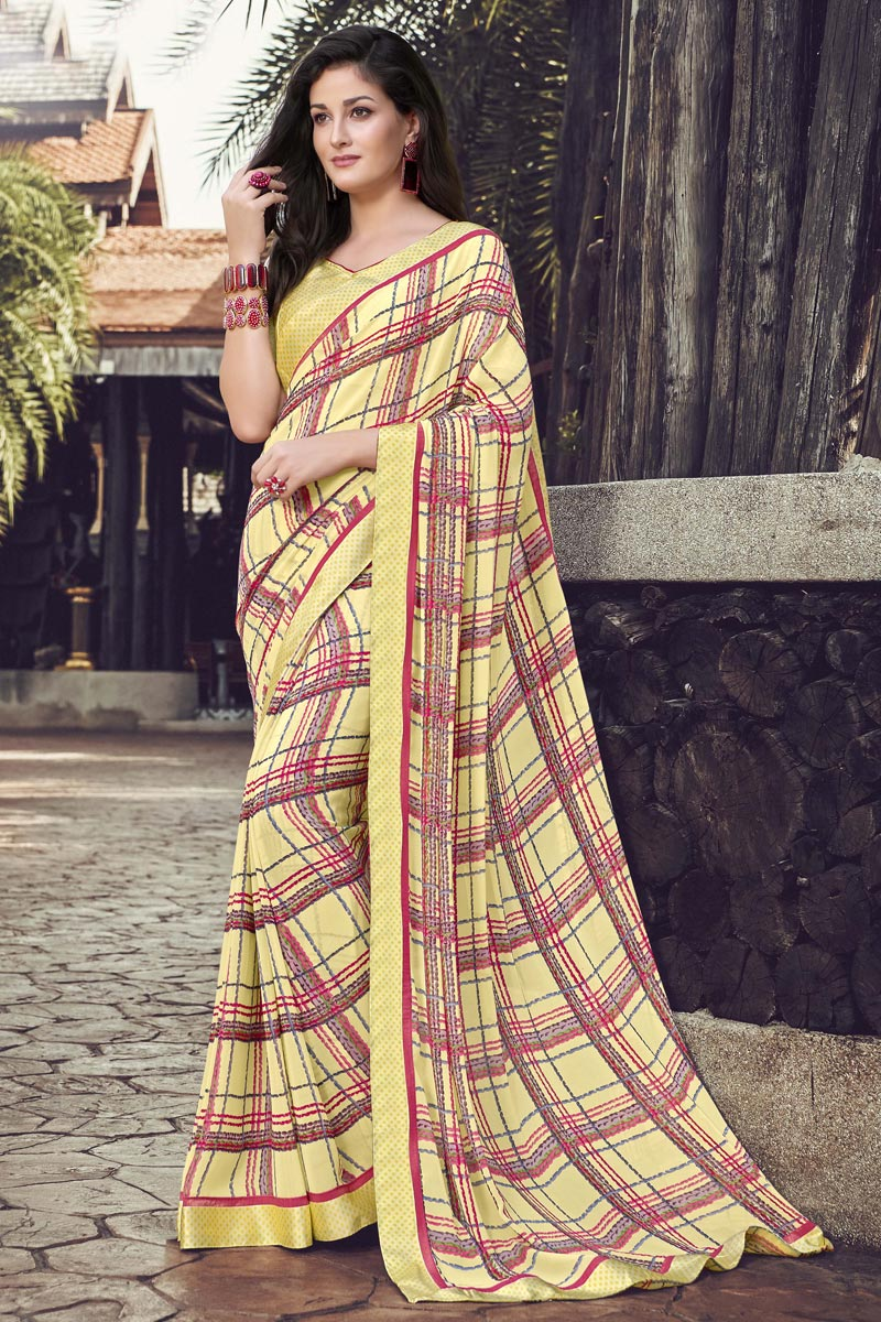 Georgette Fabric Yellow Color Daily Wear Printed Saree