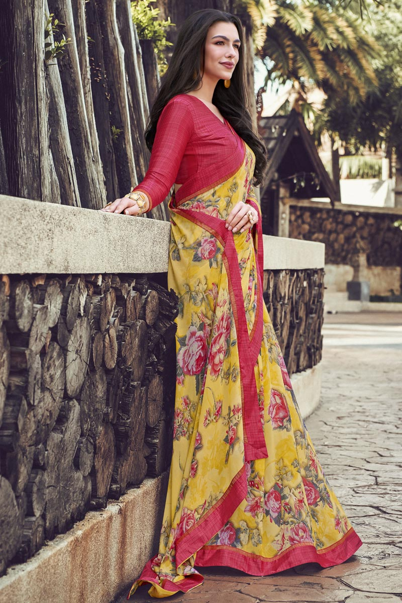 Simple Printed Georgette Fabric Saree In Yellow Color