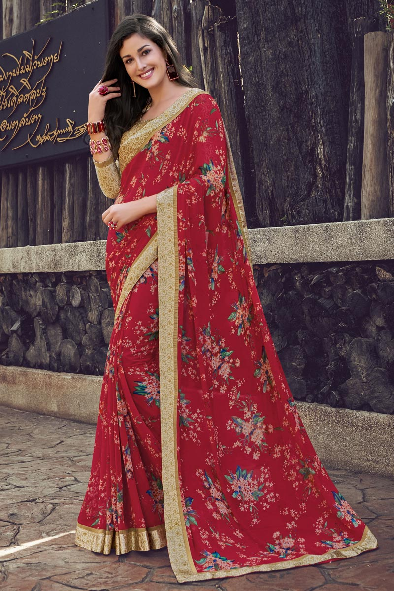 Red Color Casual Wear Printed Saree In Georgette Fabric