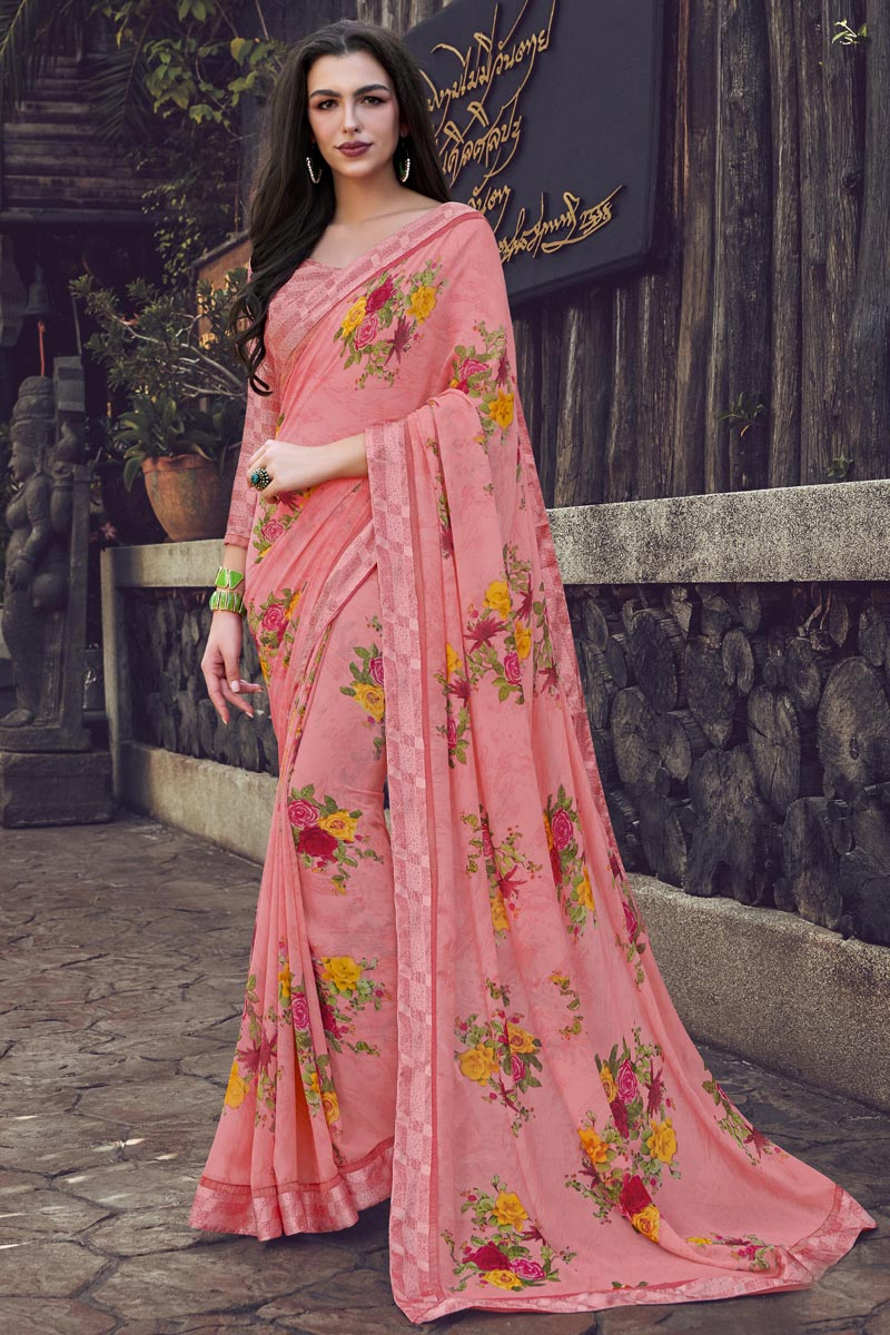 Fancy Georgette Fabric Pink Color Daily Wear Printed Saree
