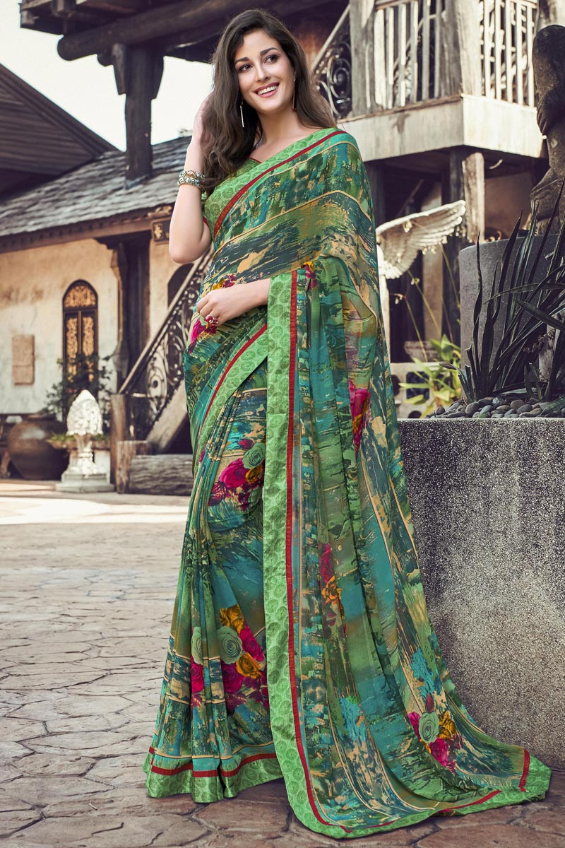 Casual Wear Fancy Printed Saree In Georgette Fabric Sea Green Color