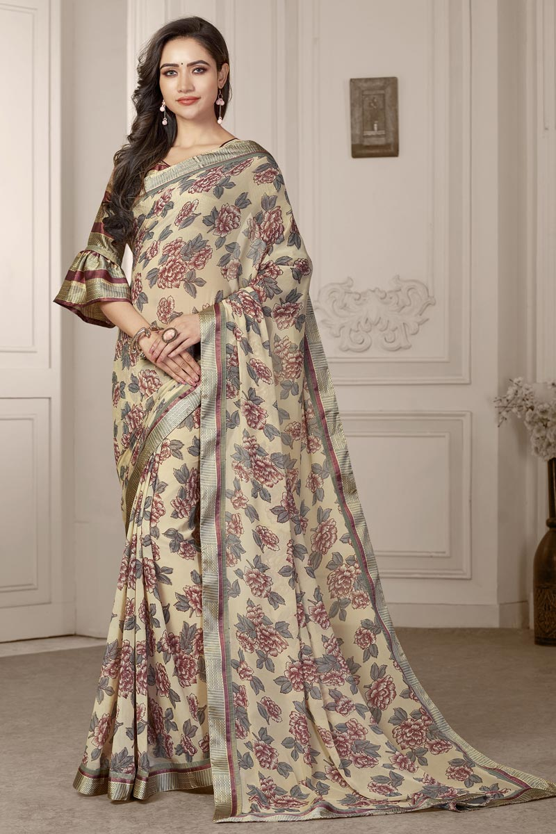 Beige Color Georgette Fabric Fancy Printed Daily Wear Saree