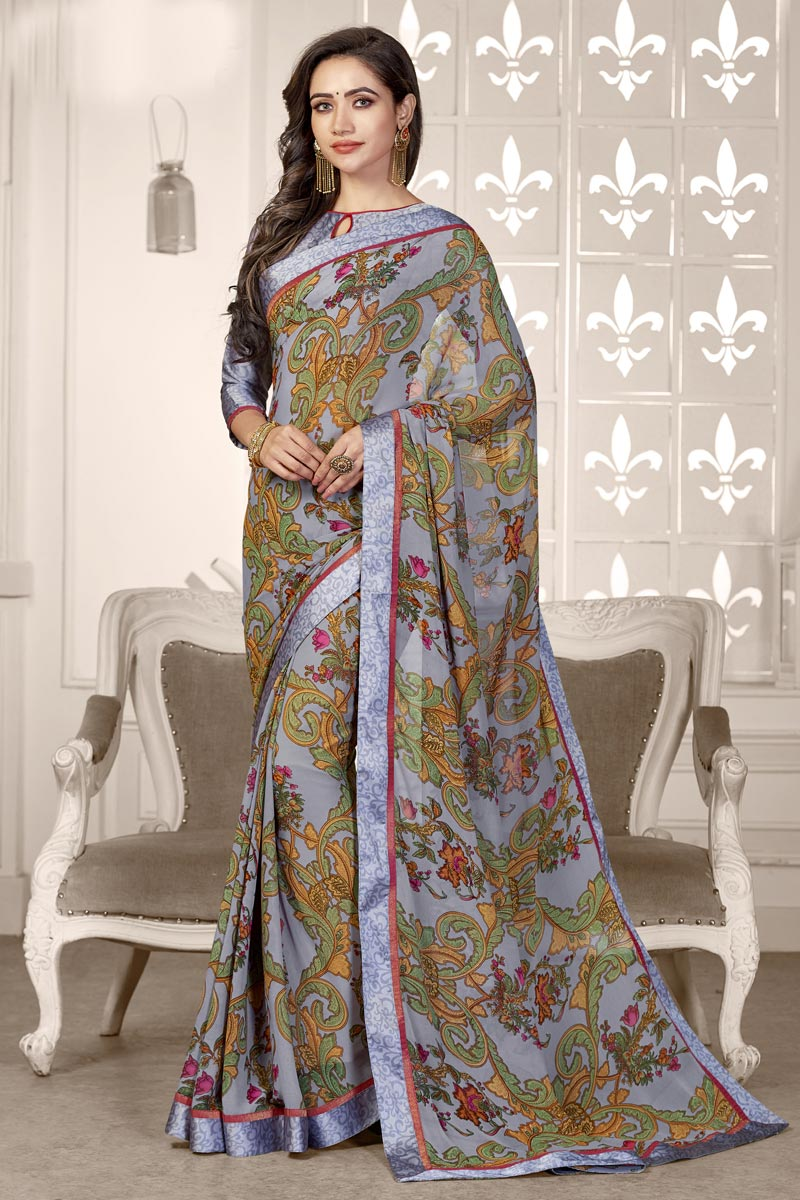 Georgette Fabric Grey Color Casual Wear Printed Saree