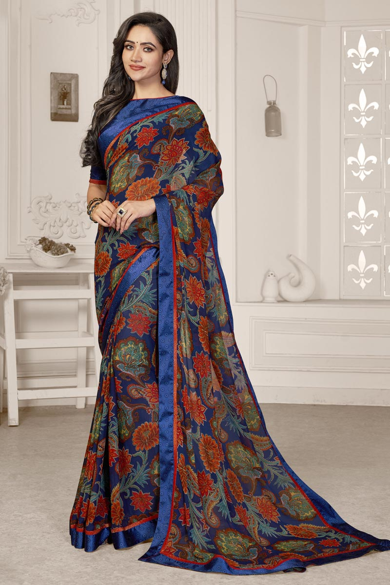 Fancy Georgette Fabric Blue Color Printed Daily Wear Saree