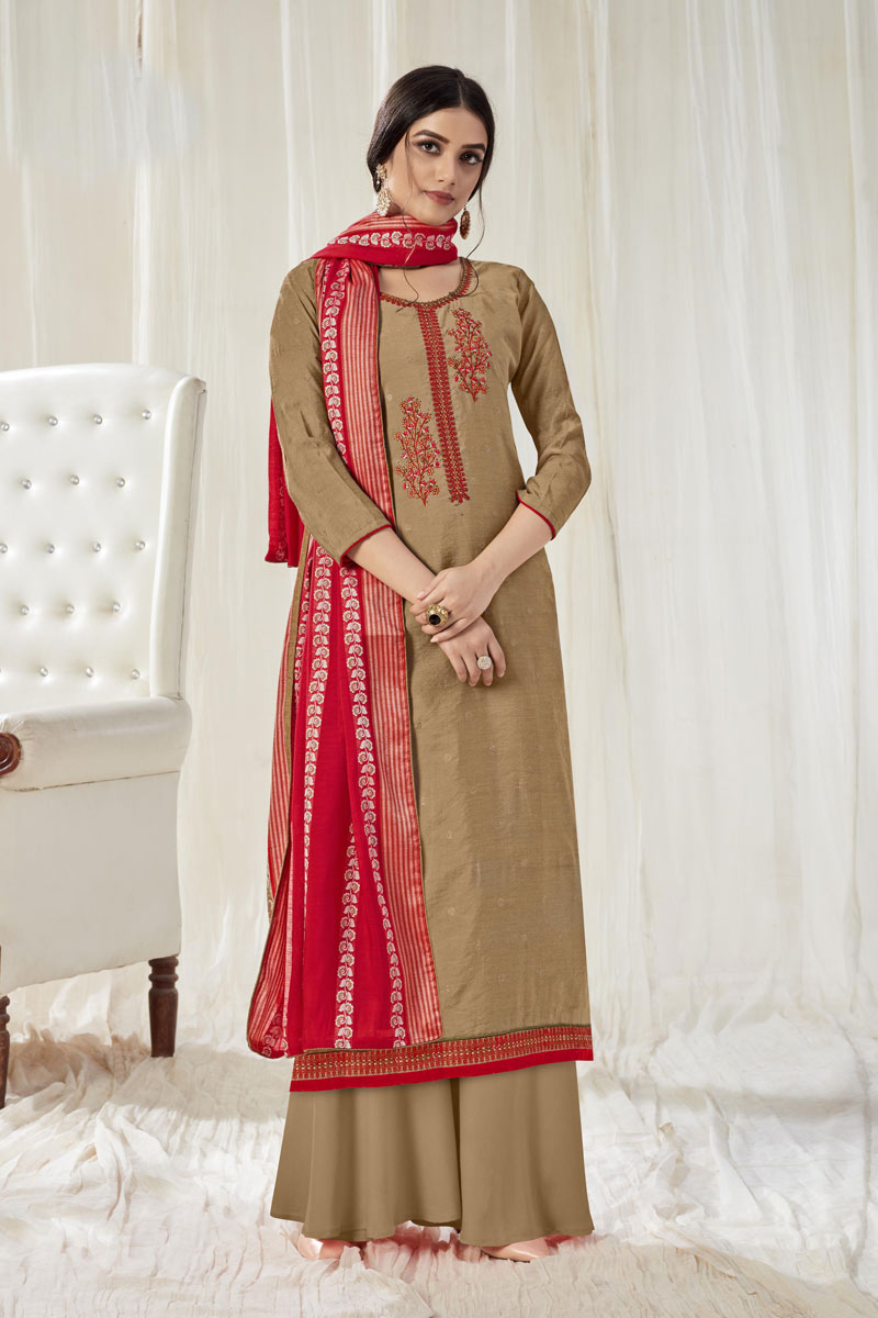 Light Brown Color Embroidered Palazzo Salwar Kameez