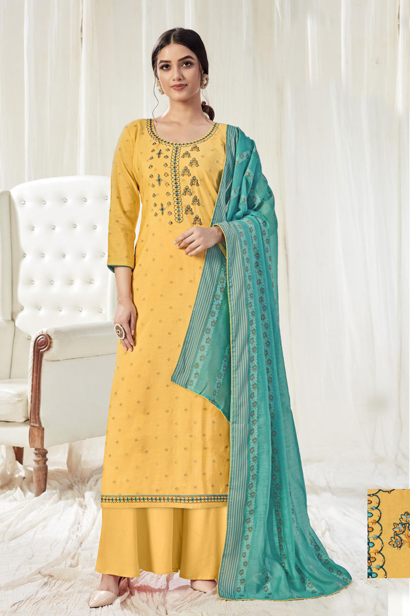 Cotton Fabric Party Wear Palazzo Salwar Suit