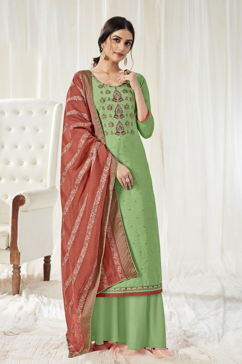 Sea Green Color Cotton Fabric Function Wear Embroidered Palazzo Suit