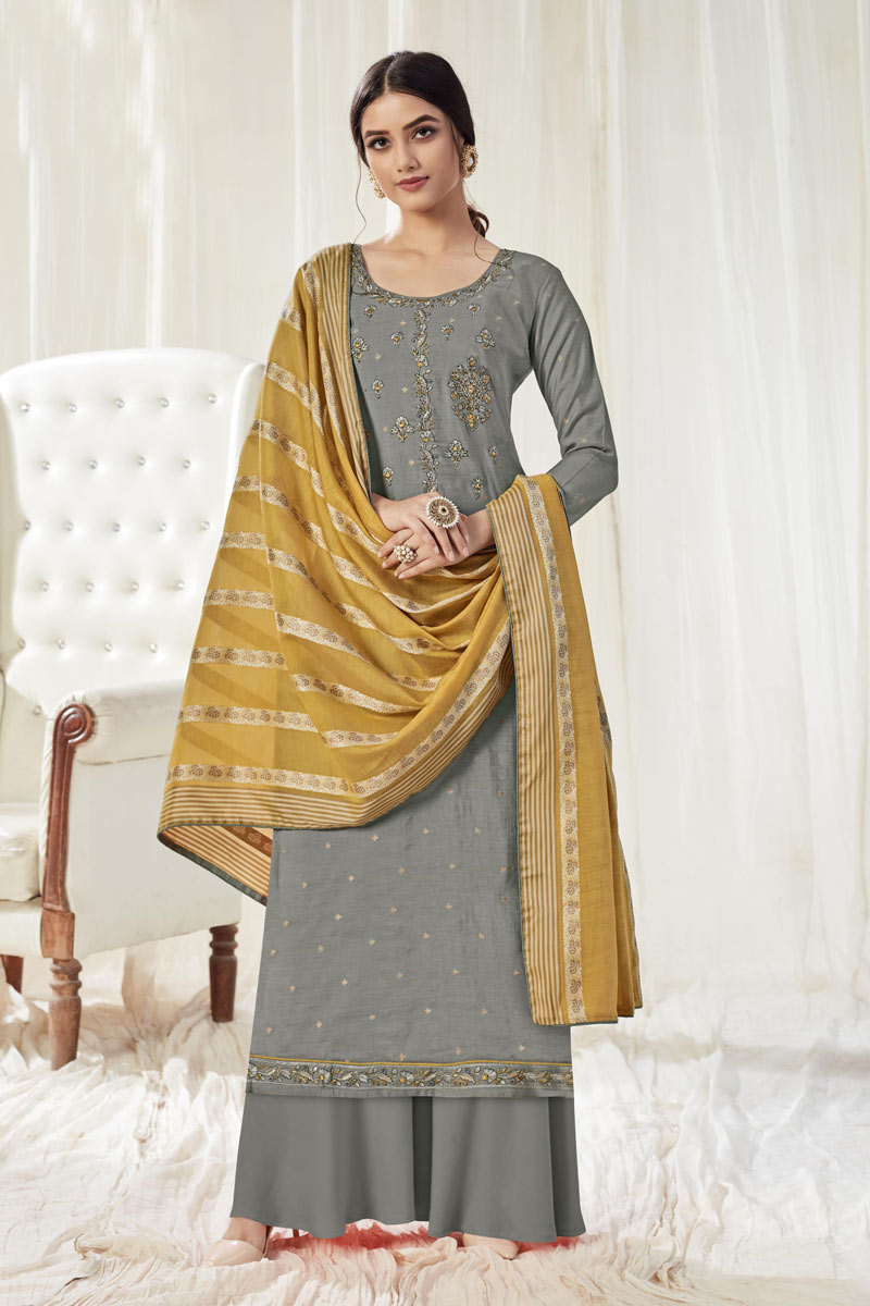 Occasion Wear Grey Color Embroidered Fancy Palazzo Salwar Suit