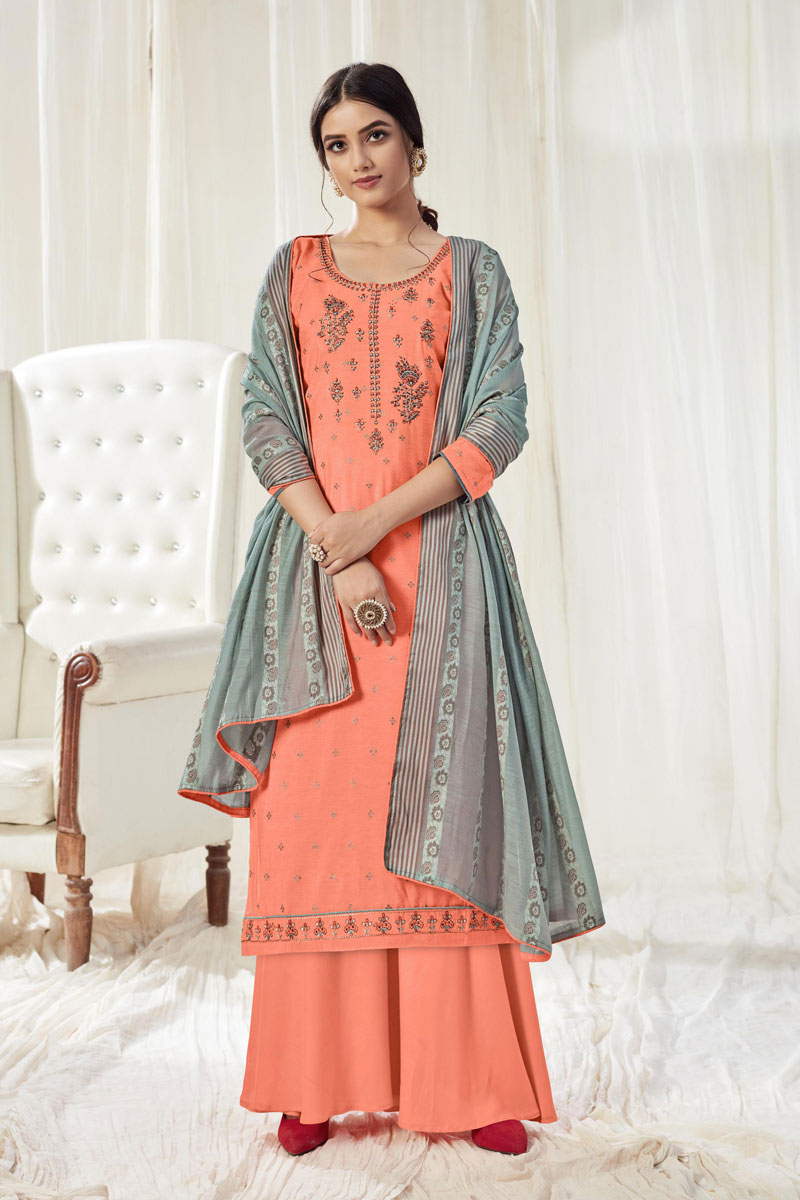 Embroidery Work Peach Color Cotton Fabric Palazzo Salwar Suit