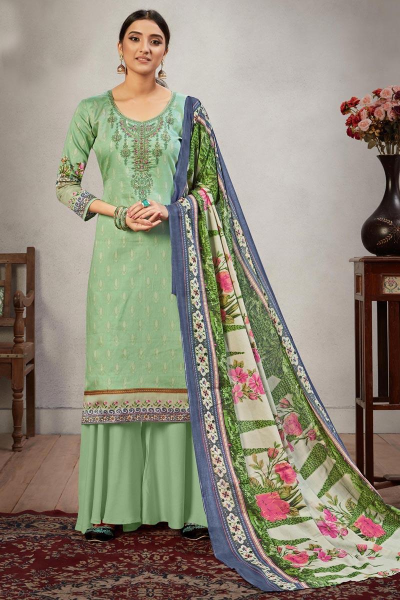 Sea Green Color Embroidery Work Palazzo Salwar Kameez