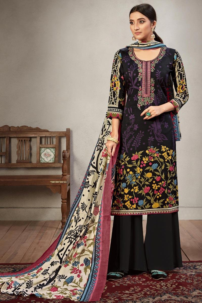 Cotton Fabric Casual Wear Palazzo Salwar Suit