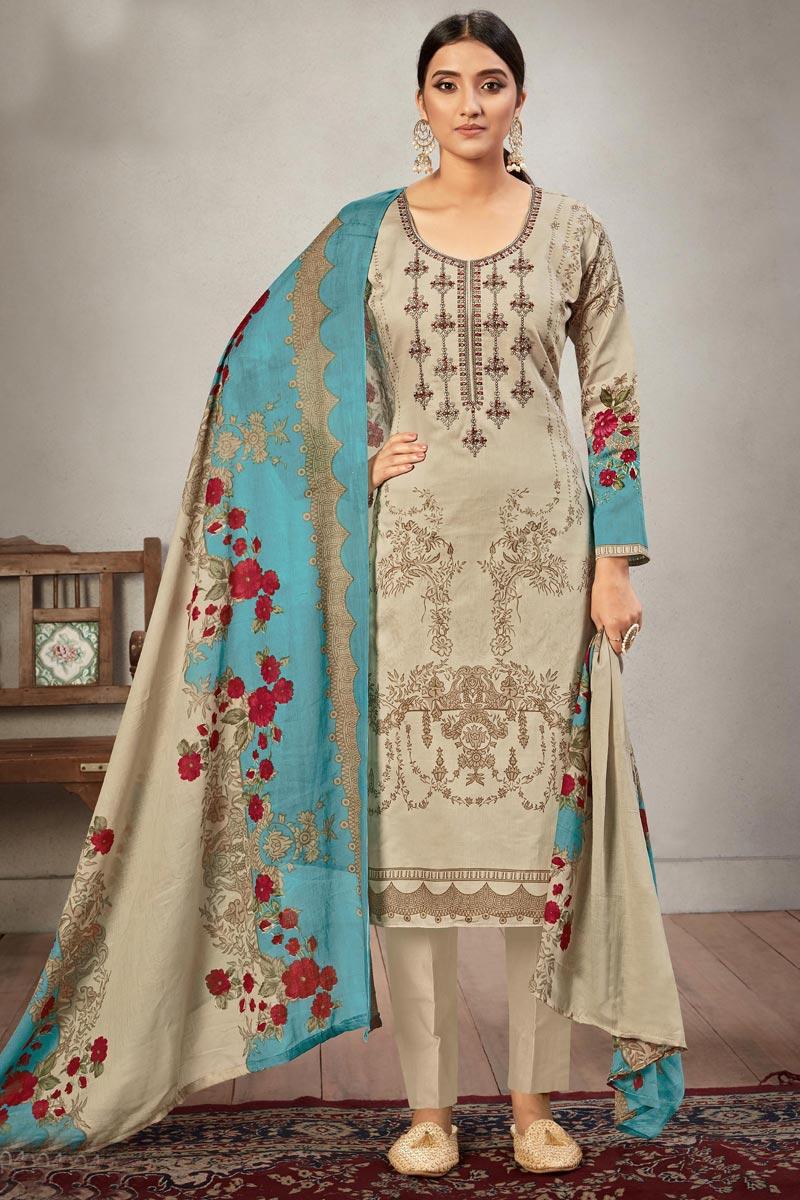 Casual Wear Dark Beige Color Embroidery Work Salwar Suit