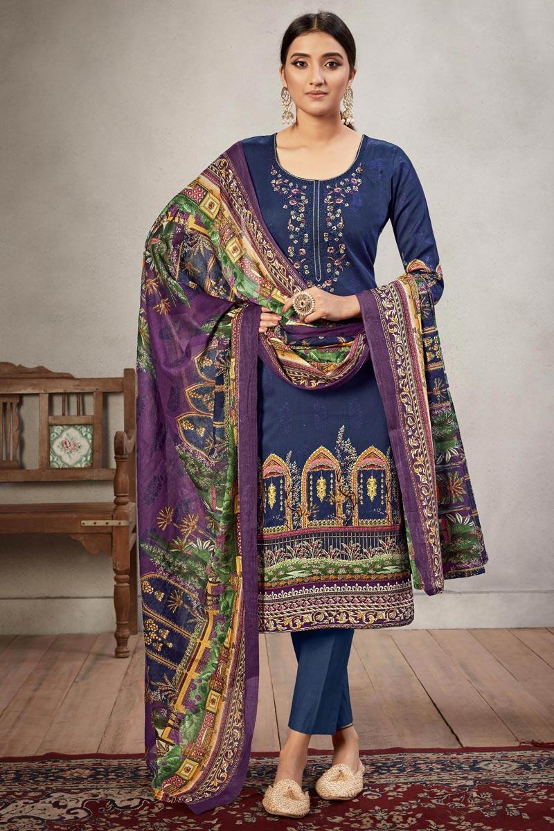 Cotton Fabric Navy Blue Color Casual Salwar Kameez