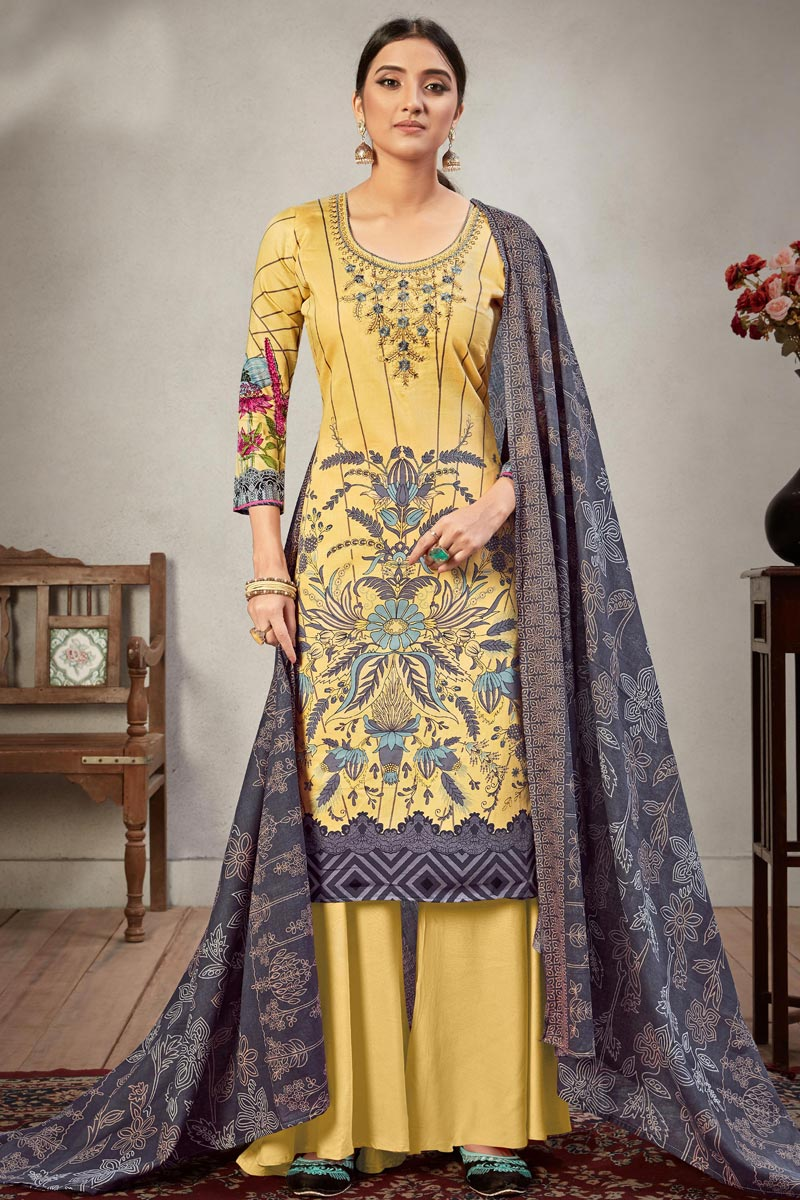 Yellow Color Embroidery Work Cotton Fabric Daily Wear Palazzo Salwar Kameez