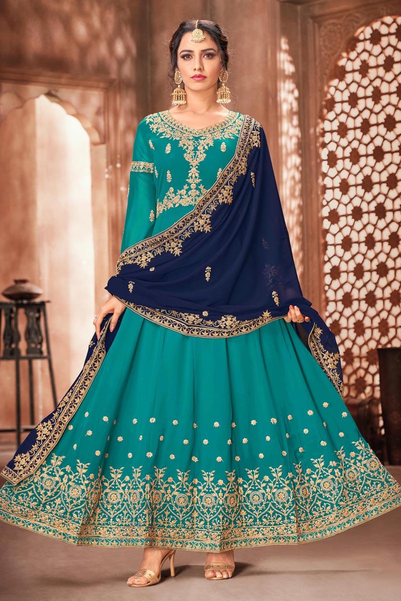 Georgette Fabric Party Wear Anarkali Salwar Suit