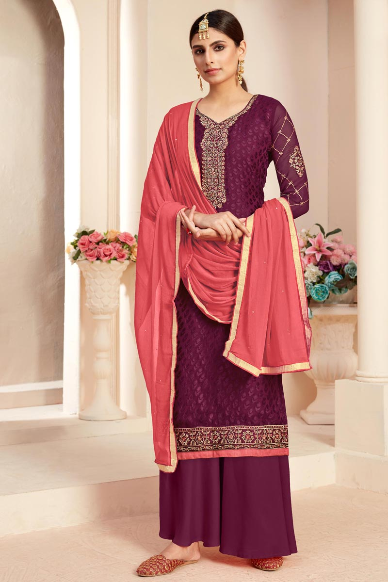 Brasso Fabric Festive Wear Designer Embroidered Wine Color Palazzo Suit
