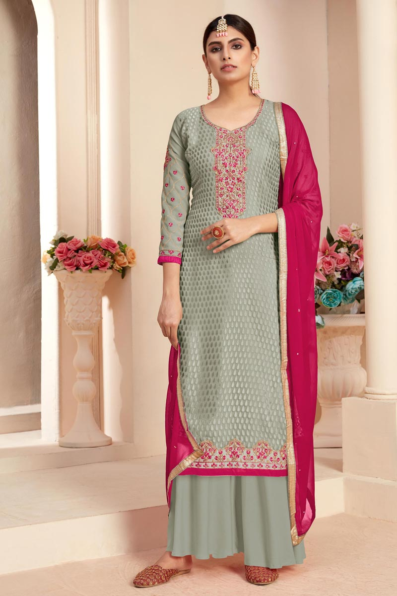 Grey Color Festive Wear Designer Embroidered Brasso Fabric Palazzo Suit