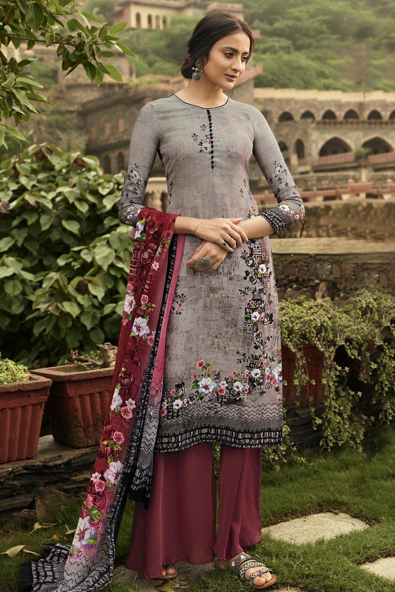 Lavender Color Festive Wear Fancy Printed Salwar Kameez In Crepe Fabric