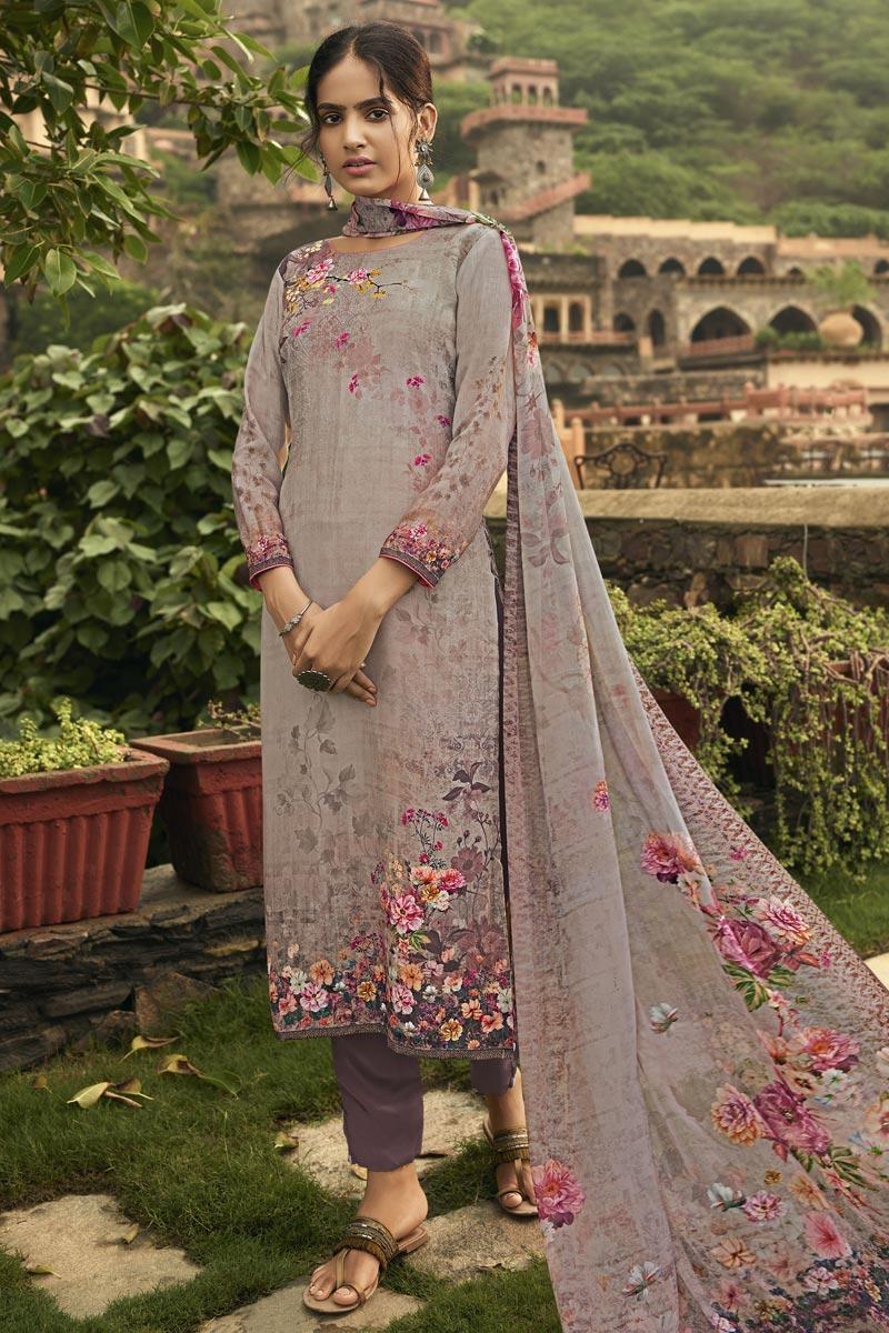 Festive Wear Cream Color Fancy Printed Salwar Kameez In Crepe Fabric