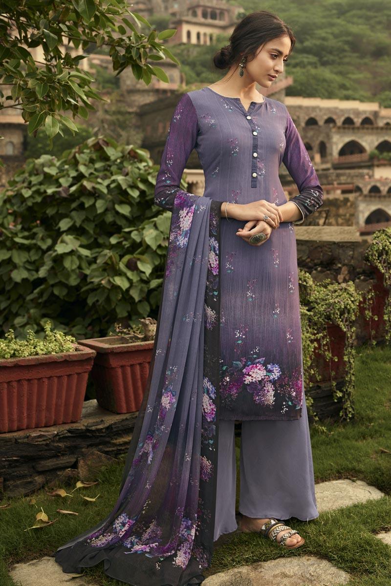 Fancy Purple Color Festive Wear Printed Crepe Fabric Salwar Suit