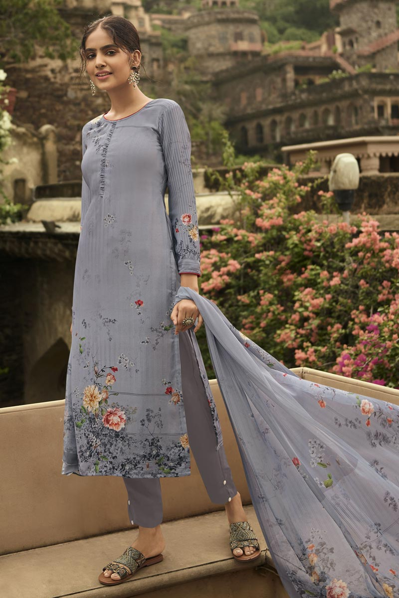 Grey Color Festive Wear Fancy Printed Crepe Fabric Salwar Kameez