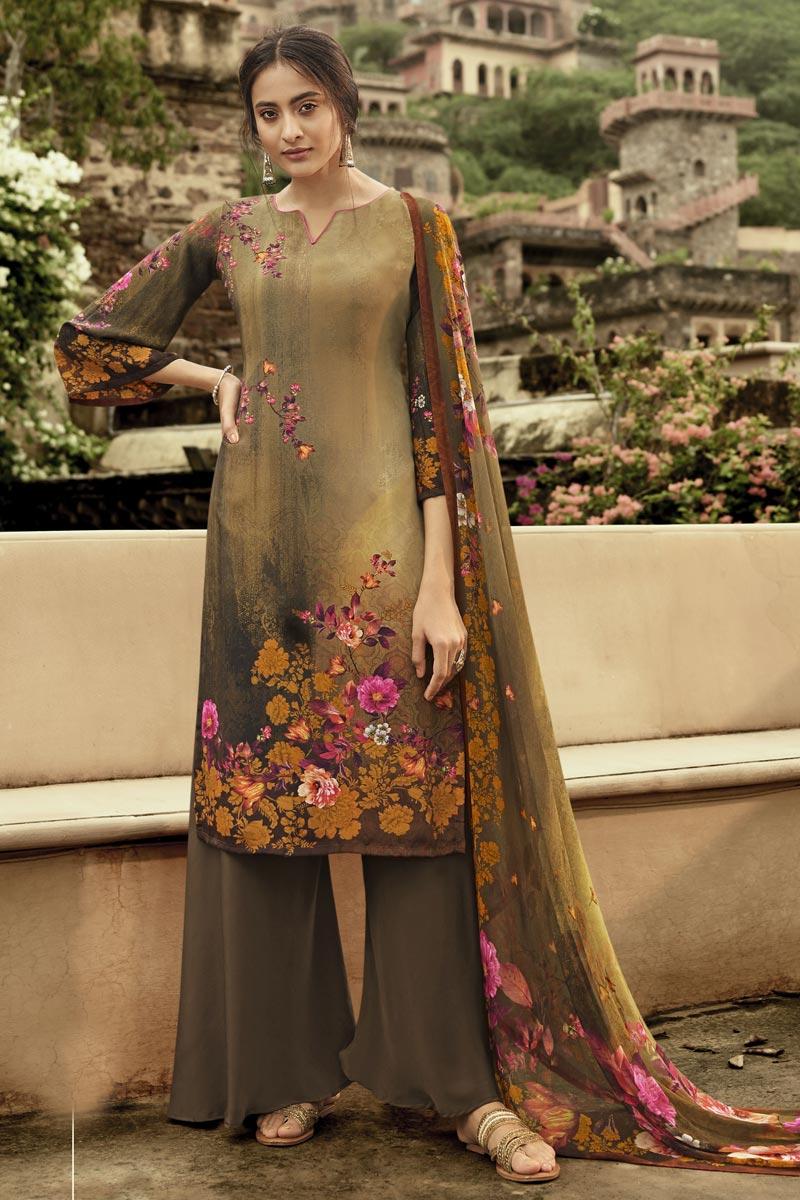 Festive Wear Brown Color Fancy Crepe Fabric Printed Salwar Suit