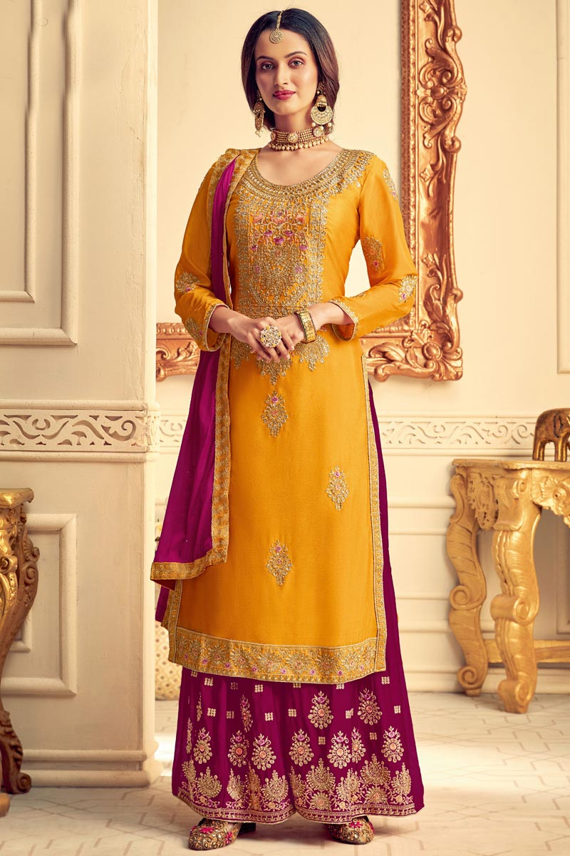 Party Style Chinon Fabric Designer Yellow Color Embroidered Palazzo Dress