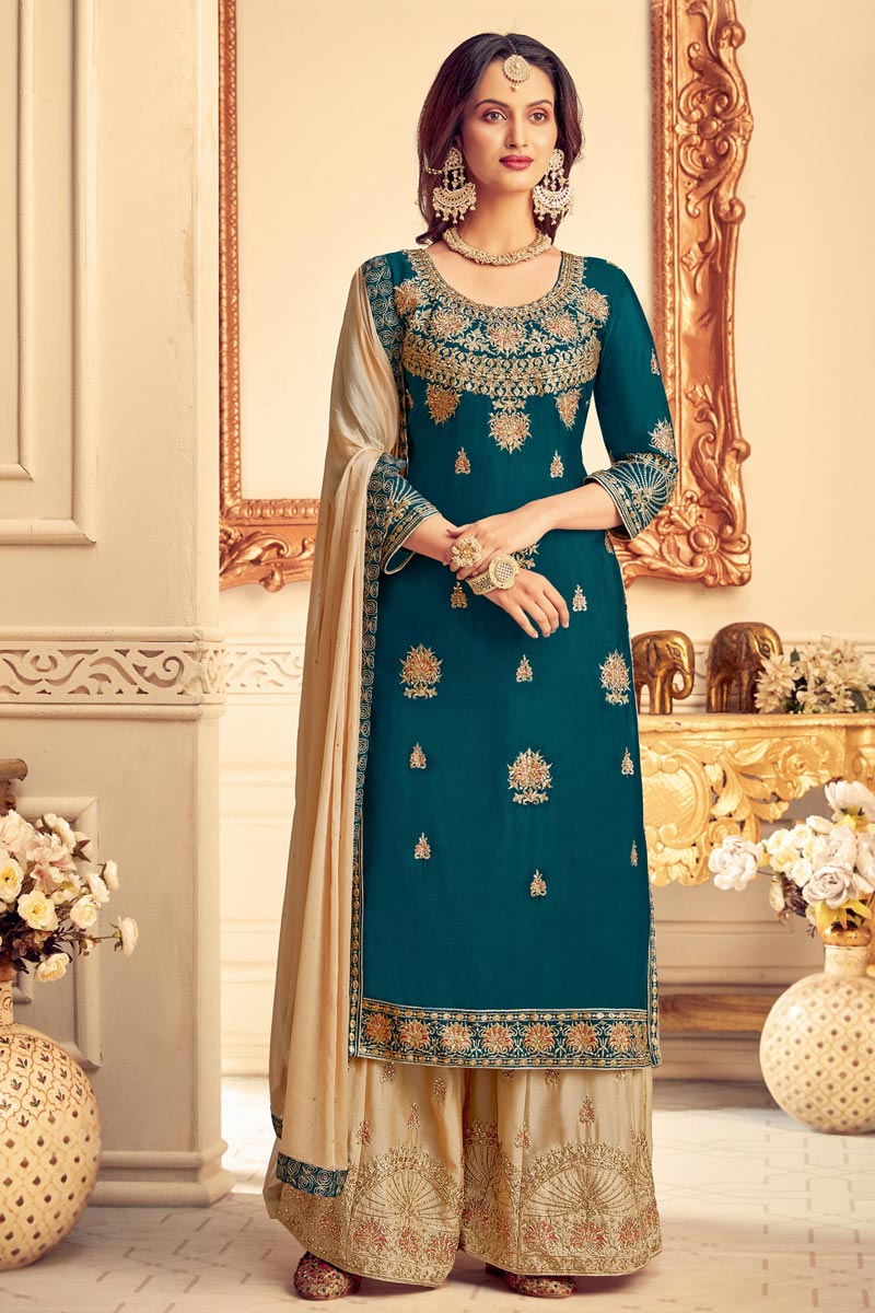 Party Style Teal Color Designer Embroidered Palazzo Suit In Chinon Fabric