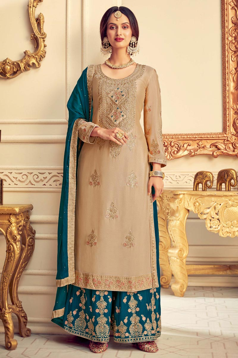 Designer Beige Color Party Style Embroidered Chinon Fabric Palazzo Dress